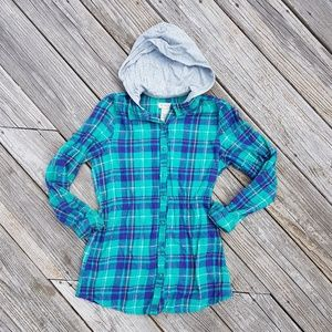 Arizona Turquoise & Purple Hooded Flannel Youth L